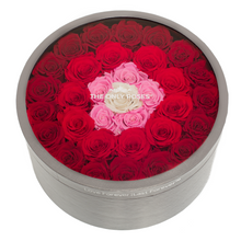 Load image into Gallery viewer, Fading Red Preserved Roses | Large Round Classic Grey Box - The Only Roses