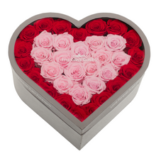 Load image into Gallery viewer, Red & Pink Preserved Roses | Large Heart Classic Grey Box - The Only Roses
