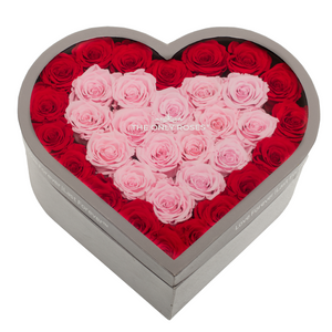 Red & Pink Preserved Roses | Large Heart Classic Grey Box - The Only Roses