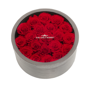 Red Preserved Roses | Medium Round Classic Grey Box - The Only Roses