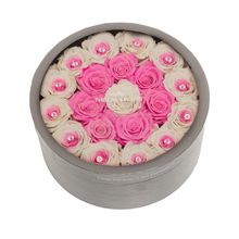 Load image into Gallery viewer, Pink & White Preserved Roses | Medium Round Classic Grey Box - The Only Roses