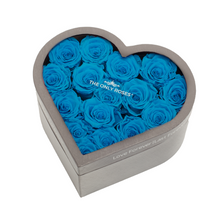 Load image into Gallery viewer, Blue Preserved Roses | Medium Heart Classic Grey Box - The Only Roses