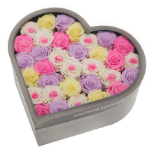Load image into Gallery viewer, Candy Mix Preserved Roses | Large Heart Classic Grey Box - The Only Roses