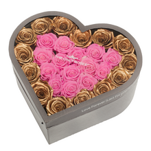 Load image into Gallery viewer, Gold & Pink Preserved Roses | Large Heart Classic Grey Box - The Only Roses