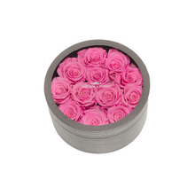 Load image into Gallery viewer, Pink Preserved Roses | Small Round Classic Grey Box - The Only Roses
