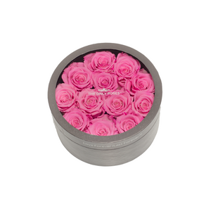 Pink Preserved Roses | Small Round Classic Grey Box - The Only Roses