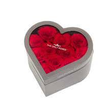 Load image into Gallery viewer, Red Preserved Roses | Small Heart Classic Grey Box - The Only Roses