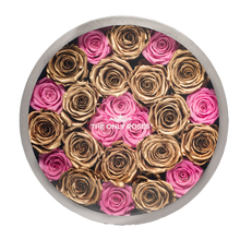Load image into Gallery viewer, Gold & Pink Preserved Roses | Large Round Classic Grey Box - The Only Roses