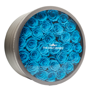 Blue Preserved Roses | Large Round Classic Grey Box - The Only Roses