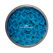 Load image into Gallery viewer, Blue Preserved Roses | Large Round Classic Grey Box - The Only Roses