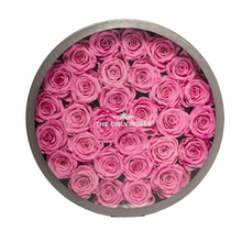 Load image into Gallery viewer, Pink Preserved Roses | Large Round Classic Grey Box - The Only Roses