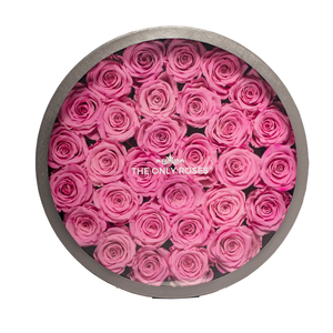 Pink Preserved Roses | Large Round Classic Grey Box - The Only Roses