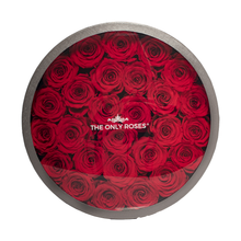 Load image into Gallery viewer, Red Preserved Roses | Large Round Classic Grey Box - The Only Roses