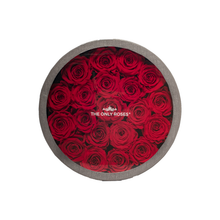 Load image into Gallery viewer, Red Preserved Roses | Medium Round Classic Grey Box - The Only Roses