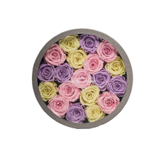 Load image into Gallery viewer, Candy Preserved Roses | Medium Round Classic Grey Box - The Only Roses