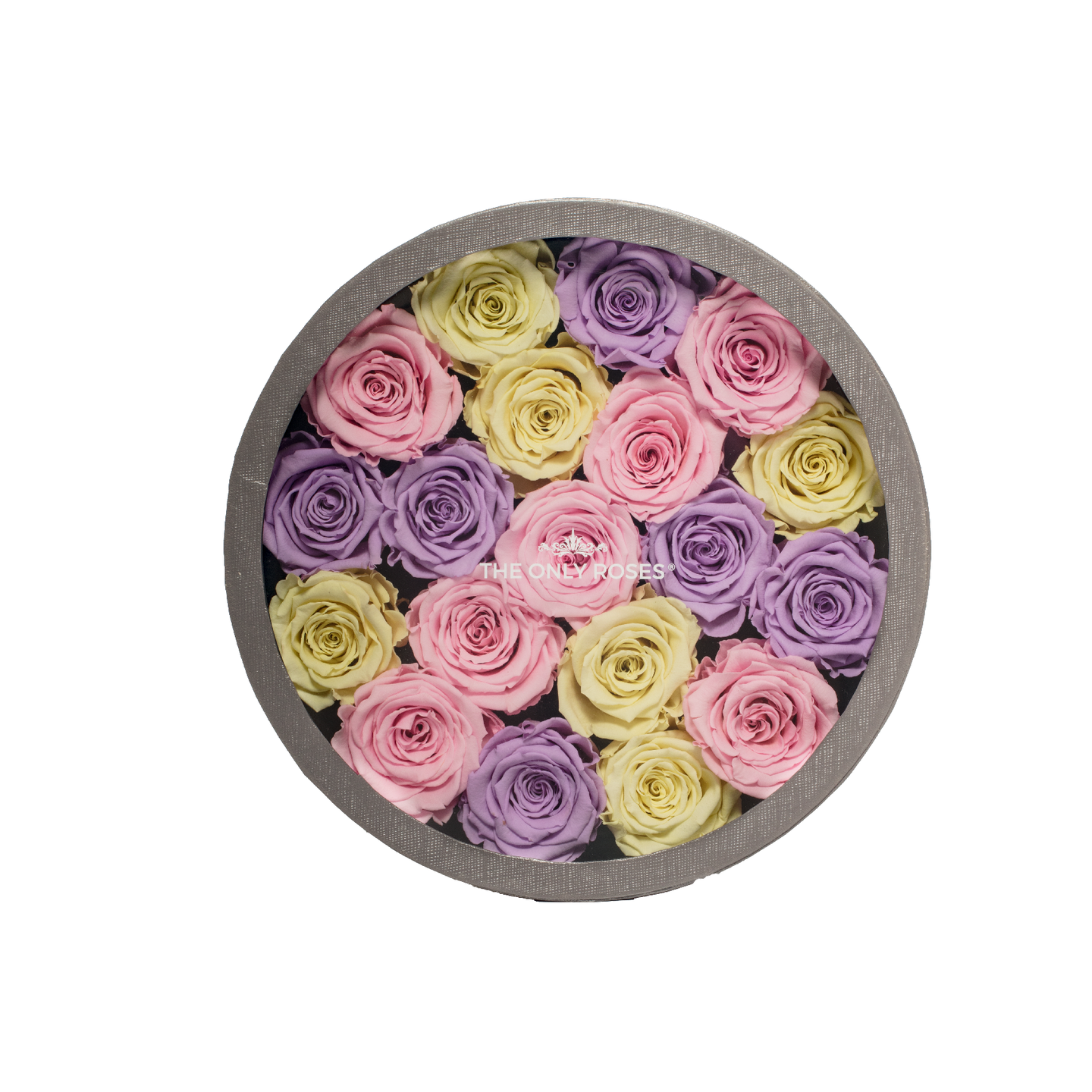 Candy Preserved Roses | Medium Round Classic Grey Box - The Only Roses