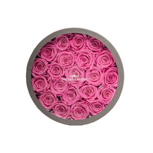 Pink Preserved Roses | Medium Round Classic Grey Box - The Only Roses