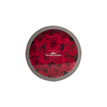 Load image into Gallery viewer, Red Preserved Roses | Small Round Classic Grey Box - The Only Roses