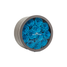 Load image into Gallery viewer, Blue Preserved Roses | Small Round Classic Grey Box - The Only Roses