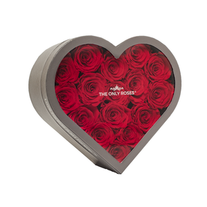 Red Preserved Roses | Medium Heart Classic Grey Box - The Only Roses