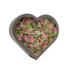 Load image into Gallery viewer, Pink and Green Mixed Preserved Roses | Medium Heart Classic Grey Box - The Only Roses