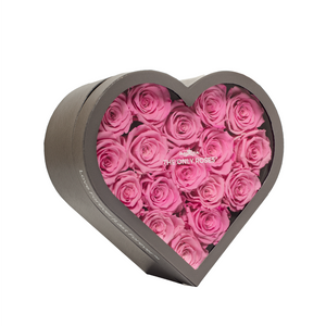Pink Preserved Roses | Medium Heart Classic Grey Box - The Only Roses
