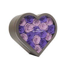 Load image into Gallery viewer, Purple & Light Purple Preserved Roses | Medium Heart Classic Grey Box - The Only Roses