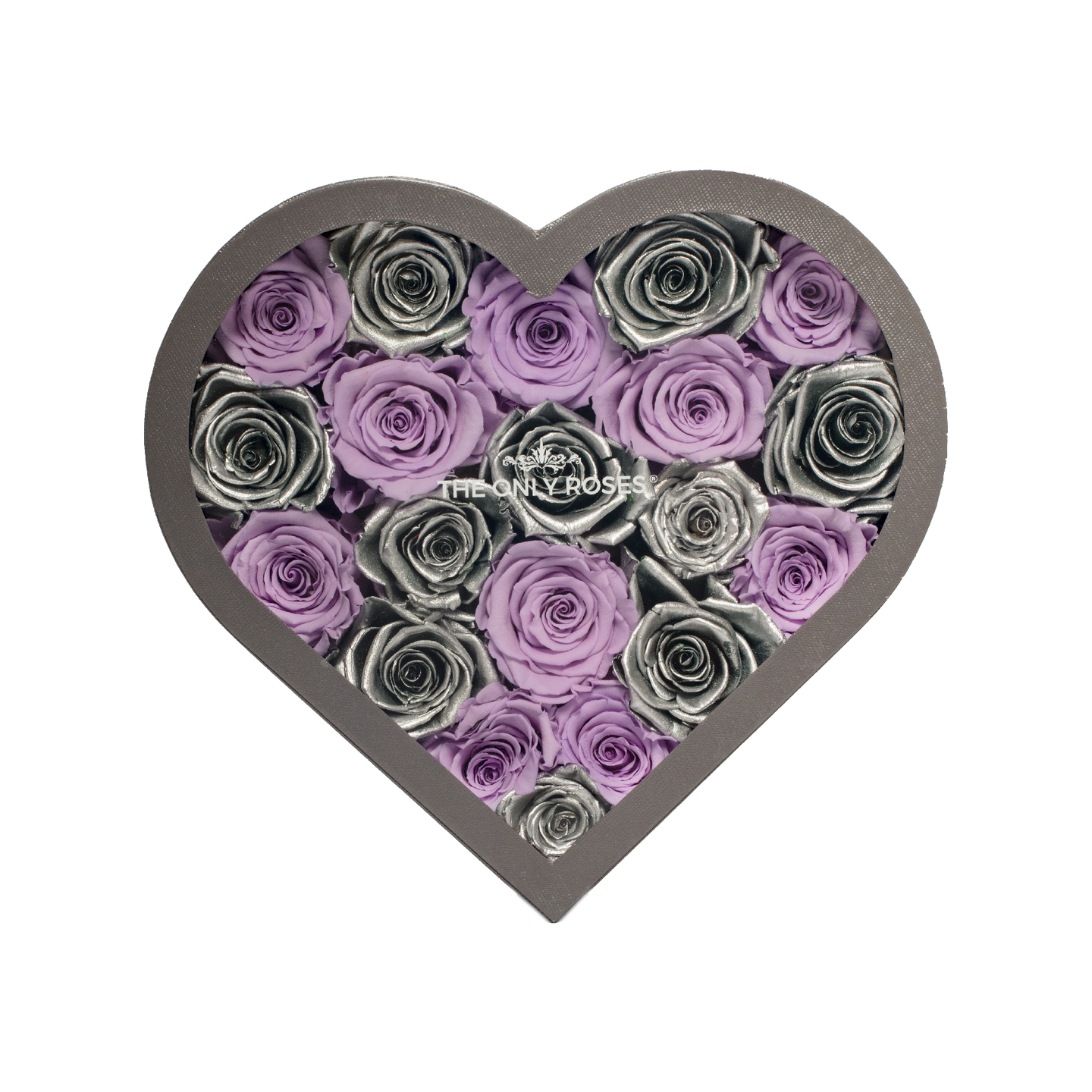 Silver & Light Purple Preserved Roses | Medium Heart Classic Grey Box - The Only Roses