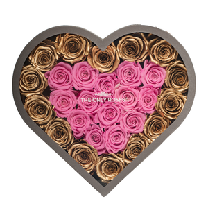 Gold & Pink Preserved Roses | Large Heart Classic Grey Box - The Only Roses
