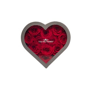 Red Preserved Roses | Small Heart Classic Grey Box - The Only Roses