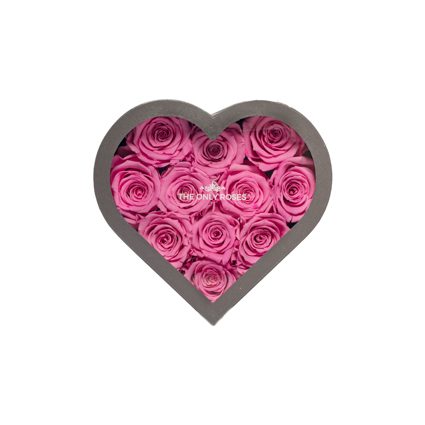Pink Preserved Roses | Small Heart Classic Grey Box - The Only Roses