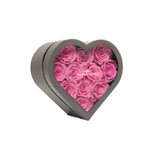 Load image into Gallery viewer, Pink Preserved Roses | Small Heart Classic Grey Box - The Only Roses