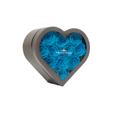 Load image into Gallery viewer, Blue Preserved Roses | Small Heart Classic Grey Box - The Only Roses