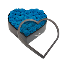 Load image into Gallery viewer, Blue Preserved Roses | Large Heart Classic Grey Box - The Only Roses