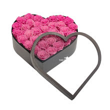 Load image into Gallery viewer, Pink Preserved Roses | Large Heart Classic Grey Box - The Only Roses