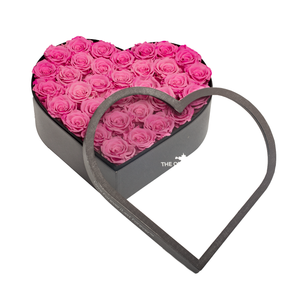 Pink Preserved Roses | Large Heart Classic Grey Box - The Only Roses