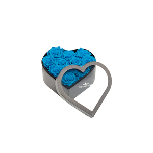 Blue Preserved Roses | Small Heart Classic Grey Box - The Only Roses