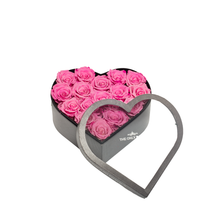 Load image into Gallery viewer, Pink Preserved Roses | Medium Heart Classic Grey Box - The Only Roses