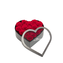 Load image into Gallery viewer, Red Preserved Roses | Medium Heart Classic Grey Box - The Only Roses