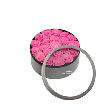 Load image into Gallery viewer, Pink Preserved Roses | Medium Round Classic Grey Box - The Only Roses
