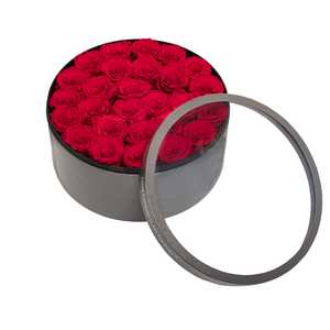 Red Preserved Roses | Large Round Classic Grey Box - The Only Roses