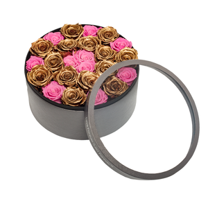 Gold & Pink Preserved Roses | Large Round Classic Grey Box - The Only Roses