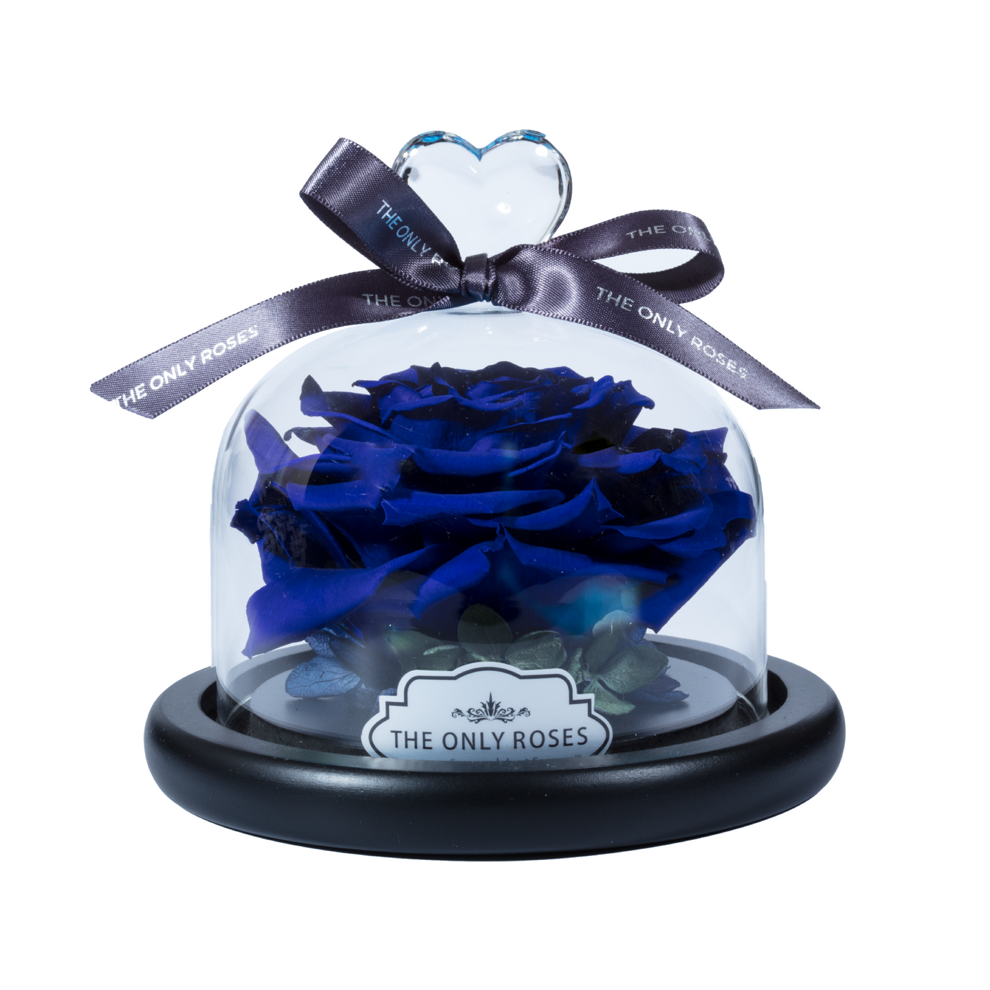 Royal Blue Preserved Rose | Glass Dome with Heart Handle - The Only Roses