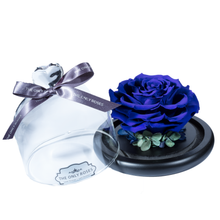 Load image into Gallery viewer, Royal Blue Preserved Rose | Glass Dome with Heart Handle - The Only Roses