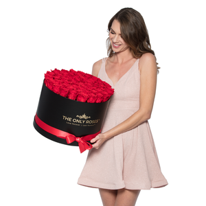 Red & Black Preserved Roses | Large Round Black Huggy Rose Box - The Only Roses