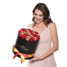 Load image into Gallery viewer, Red & Gold Mix Preserved Roses | Medium Round Black Huggy Rose Box - The Only Roses
