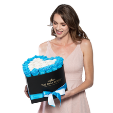 Load image into Gallery viewer, Blue and White Preserved Roses | Heart Black Huggy Rose Box - The Only Roses