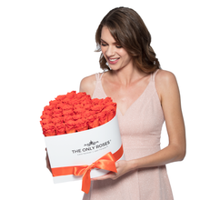 Load image into Gallery viewer, Orange Preserved Roses | Heart White Huggy Rose Box - The Only Roses