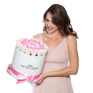 Special Pink & White Preserved Roses | Medium Round White Huggy Rose Box - The Only Roses