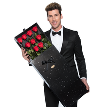 Load image into Gallery viewer, Sirius | 9 Long Stem Red Preserved Roses in Black Bouquet Box - The Only Roses